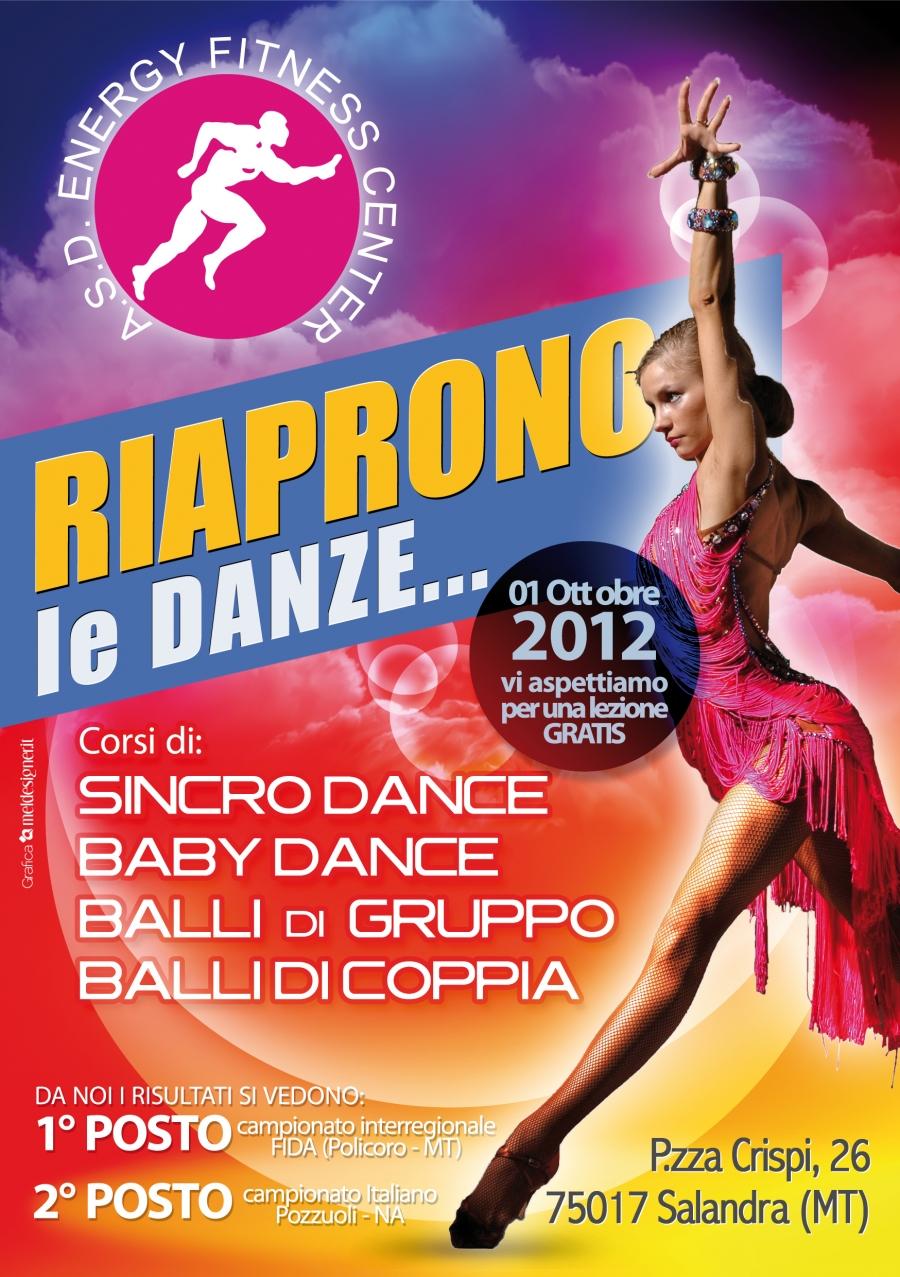 Locandina inaugurazione nuovi corsi di danza Energy Fitness Center