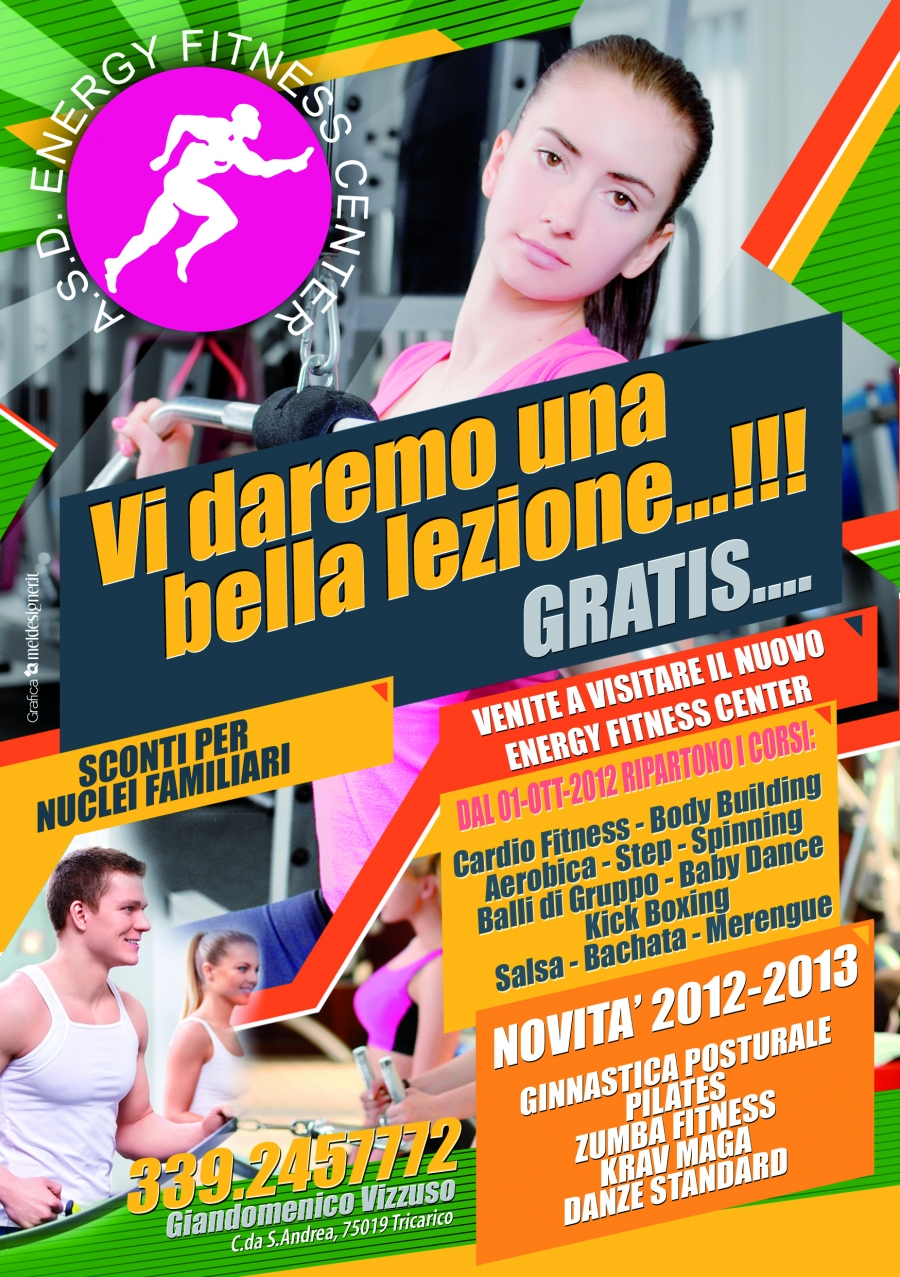 Locandina presentazione attività sportive Energy Fitness Center