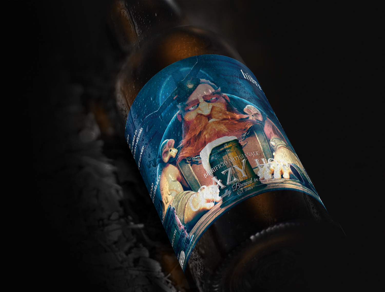 Etichetta birra Crazy Hop Ambrata