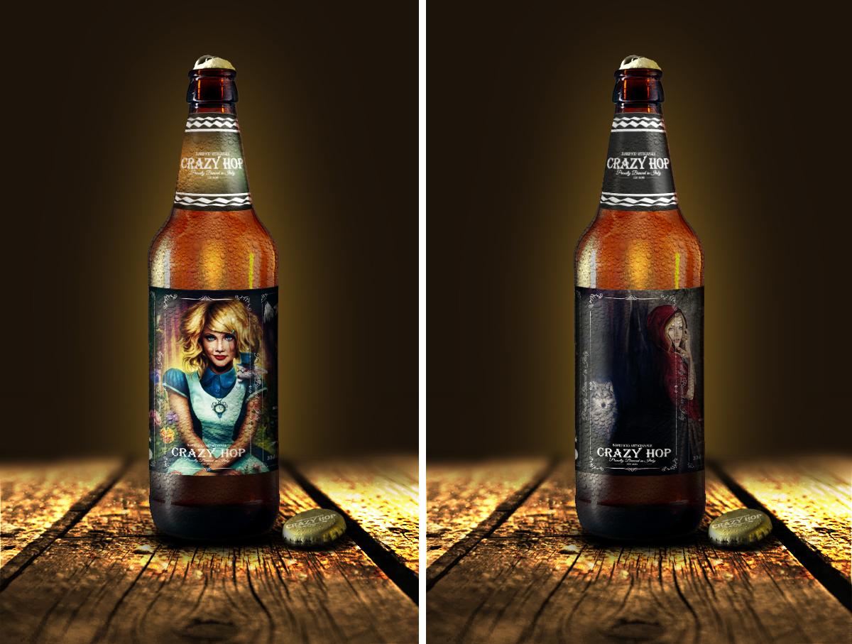 Etichetta adesiva per bottiglia di birra artigianale, chiara e rossa