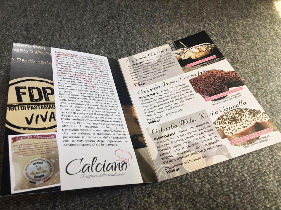 Brochure pasticceria Calciano Tricarico